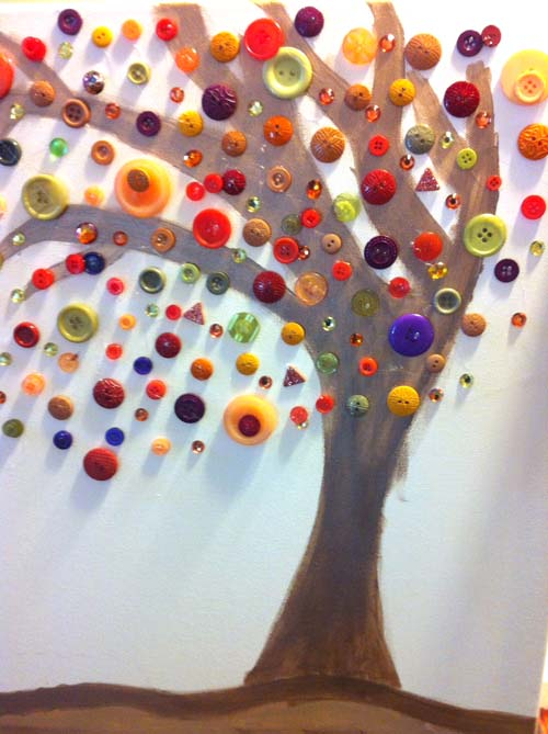 Fall Button Tree on Canvas by Alex
