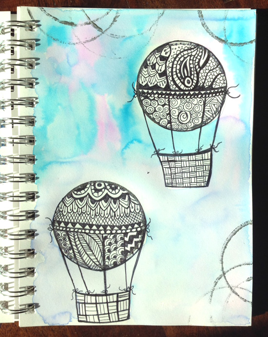 Zentangle hot air Balloons