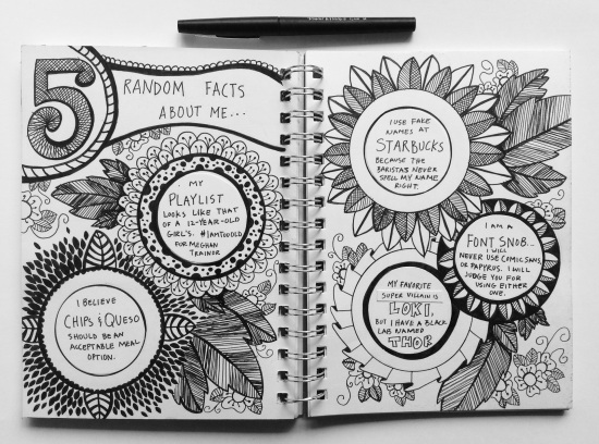 Art journaling prompt: 5 random things about me