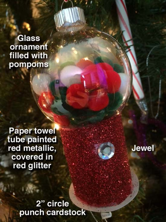 Gumball Machine DIY Christmas Ornament