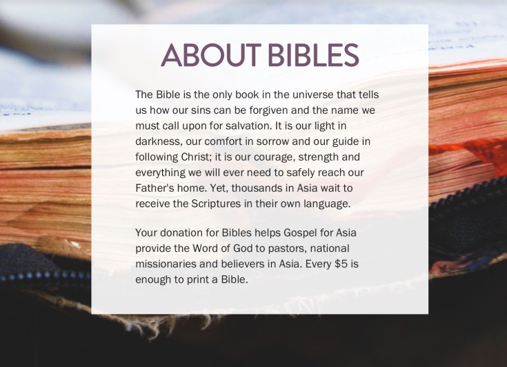 Bibles for a cause