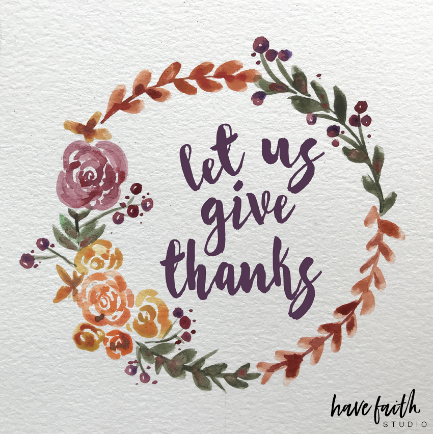 give thanks in everything, watercolor wreath